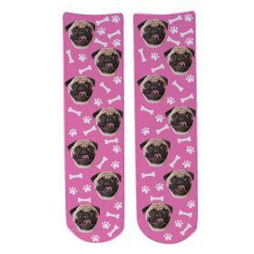 Personalised Pet Face Socks - Light Pink (D_Bone_Pattern)
