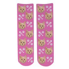 Personalised Pet Face Socks - Light Pink (C_FishB/Paw_Pattern)