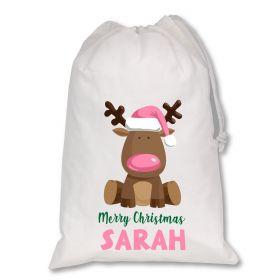 Extra Large White Santa Personalised Sack - Reindeer Light Pink