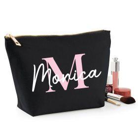 Personalised Name Black Make Up Bag - Baby Pink (ITL#)