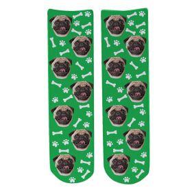 Personalised Pet Face Socks - Green (D_Bone_Pattern)