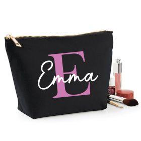 Personalised Name Black Make Up Bag - Purple (ITL#)