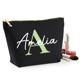 Personalised Name Black Make Up Bag - Green (ITL#)