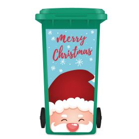 CHRISTMAS WHEELIE BIN STICKER PANEL - Santa Merry 078B