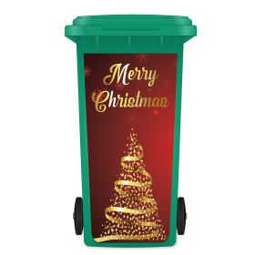 CHRISTMAS WHEELIE BIN STICKER PANEL - Christmas Tree Red