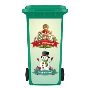 CHRISTMAS WHEELIE BIN STICKER PANEL - Merry Christmas GinSnw98
