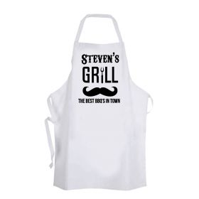 Personalised Name BBQ Moustache Apron
