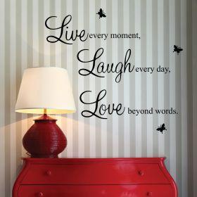 """""""Live, Love Laugh"""" Wall Quote Sticker"""