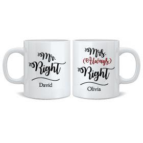 Personalised Wedding Mr & Mrs Mugs - Always Right
