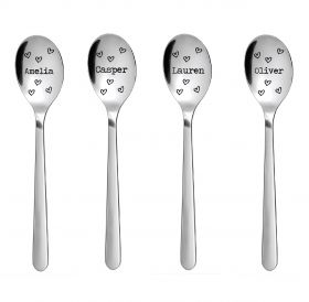 Personalised Stainless Steel Teaspoon - Name with Hearts
