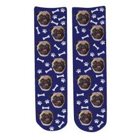 Personalised Pet Face Socks - Navy Blue (D_Bone_Pattern)