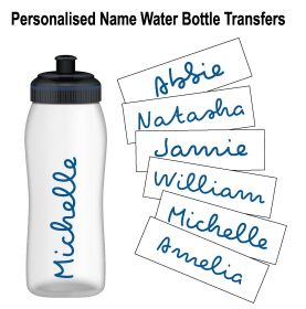 Personalised Name Water Bottle Sticker Transfer (3 Pack) - Dark Blue