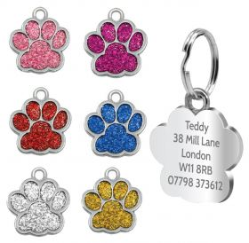 Personalised Engraved Pet Tag - Glitter Paw Designs