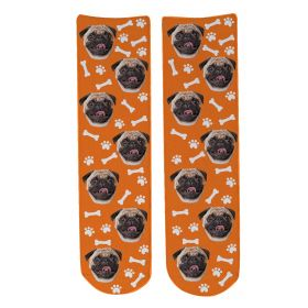 Personalised Pet Face Socks - Orange (D_Bone_Pattern)