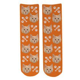 Personalised Pet Face Socks - Orange (C_FishB/Paw_Pattern)