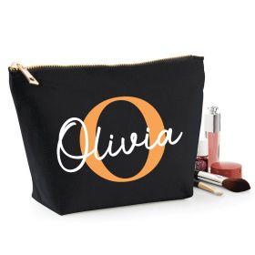 Personalised Name Black Make Up Bag - Orange (ITL#)