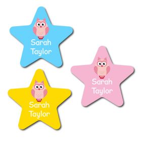 30 Star Owl Pattern Name Labels