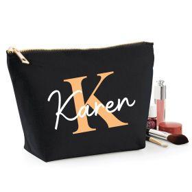 Personalised Name Black Make Up Bag - Peach (ITL#)