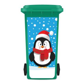 CHRISTMAS WHEELIE BIN STICKER PANEL - Christmas Penguin