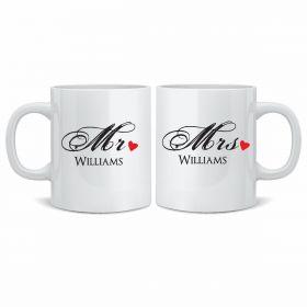 Personalised Wedding Mr & Mrs Mugs - Red_Heart