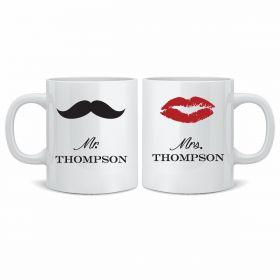 Personalised Wedding Mr & Mrs Mugs - MST/LIPS