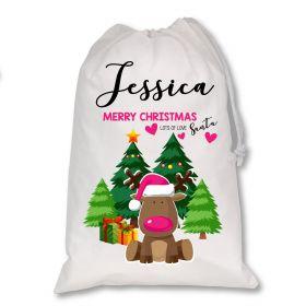 White Christmas Personalised Sack - Green Reindeer
