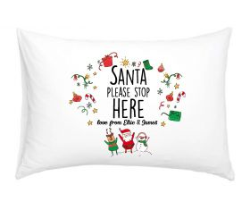 Personalised Pillow Case - Santa Please Stop Here