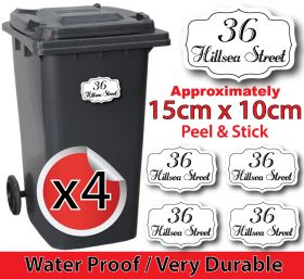 x4 Personalised Number & Street Name Wheelie Bin Stickers (Vintage PointC001)