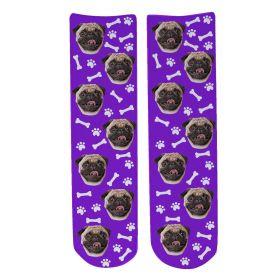 Personalised Pet Face Socks - Purple (D_Bone_Pattern)