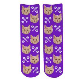 Personalised Pet Face Socks - Purple (C_FishB/Paw_Pattern)