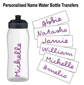 Personalised Name Water Bottle Sticker Transfer (3 Pack) - Purple