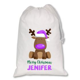 Extra Large White Santa Personalised Sack - Reindeer Purple