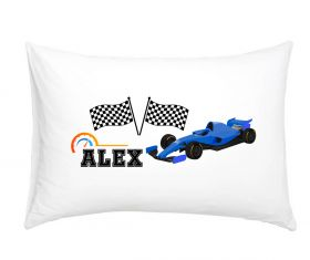 Racing Car Blue - Personalised Pillow Case