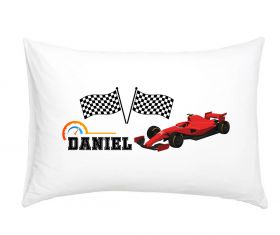 Racing Car Red - Personalised Pillow Case