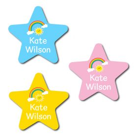 30 Star Rainbow Name Labels