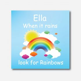 Personalised Kids Room Canvas - Rainbows (Square)