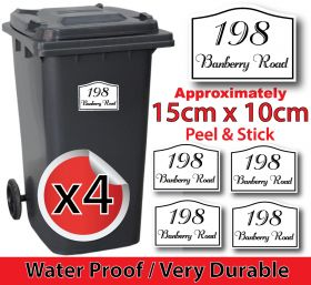 x4 Personalised Number & Street Name Wheelie Bin Stickers (Vintage rect top curve)
