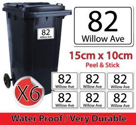 x6 Personalised House Number & Street Name Wheelie Bin Stickers (Rectangular)