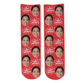 Personalised Happy Birthday Face Socks - BDAY Font_Red