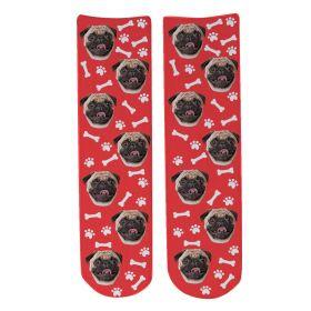 Personalised Pet Face Socks - Red (D_Bone_Pattern)