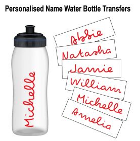 Personalised Name Water Bottle Sticker Transfer (3 Pack) - Red