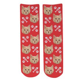 Personalised Pet Face Socks - Red (C_FishB/Paw_Pattern)