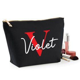 Personalised Name Black Make Up Bag - Red (ITL#)