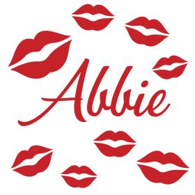 Personalised Name Wall Stickers - Lips Kisses