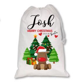 White Christmas Personalised Sack - Red Reindeer