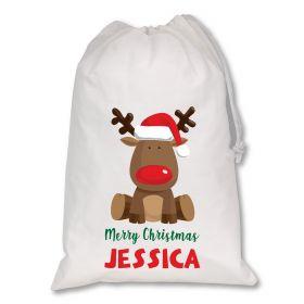 Extra Large White Santa Personalised Sack - Reindeer Red
