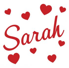 Personalised Name Wall Stickers - Hearts