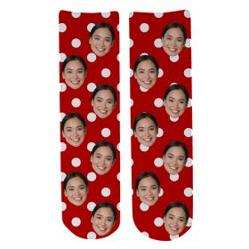 Personalised Christmas Face Socks - Festive Polka Dots
