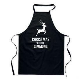 Personalised Black Christmas Apron - Reindeer