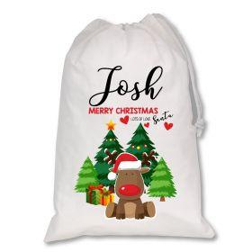 Extra Large White Santa Personalised Sack - Red Reindeer XL